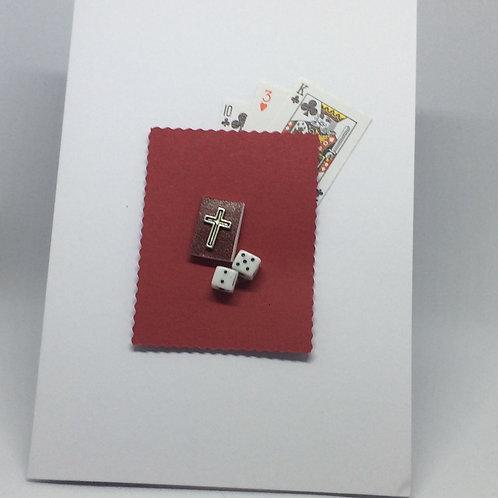 Guys & Dolls playing cards, Bible & dice Card