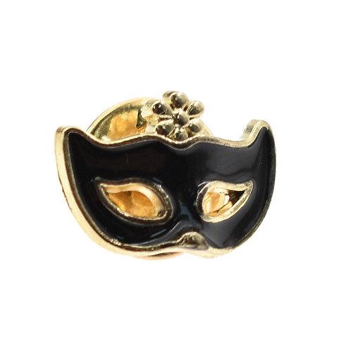 Black Enamel Mask Lapel/Tie Pin