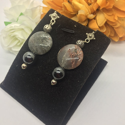 Moonstone and graphite drop earrings