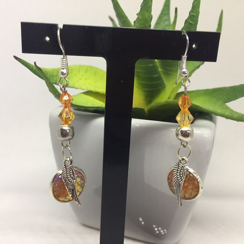 Golden orange dragon scale and feather long drop earrings