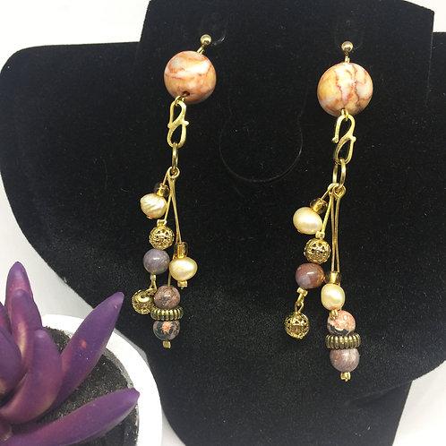 Four strand drop agate earrings