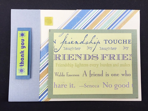 Lime and Blue Friends Thank You card