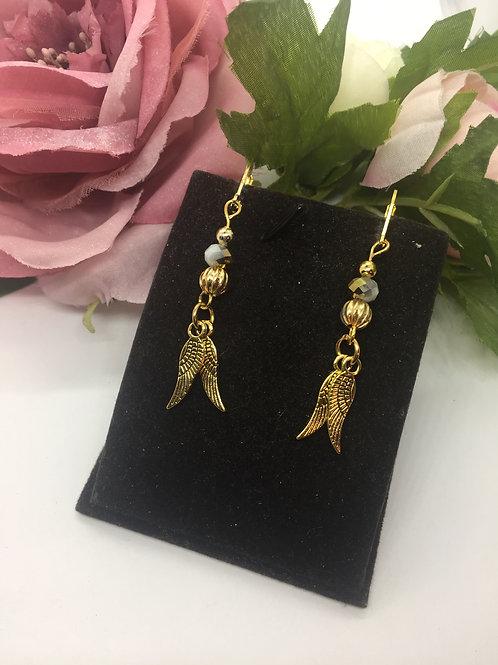 Golden angel wings drop earrings