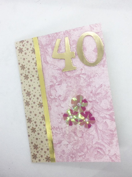 Pink Floral 40th Birthday card