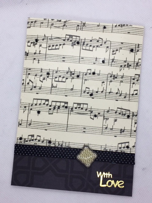 black beaded music with love card