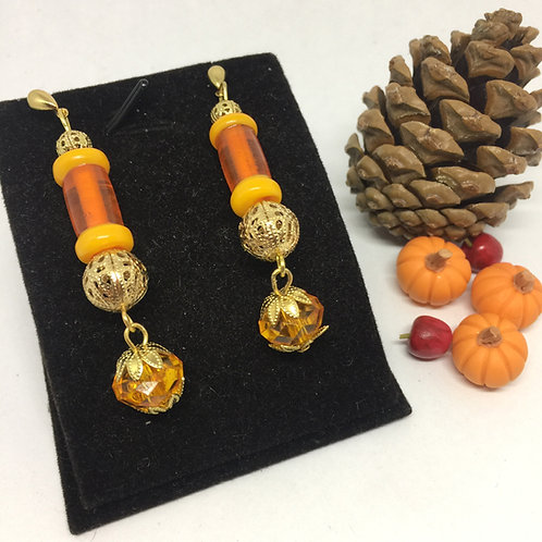 Crystal Pumpkin drop earrings