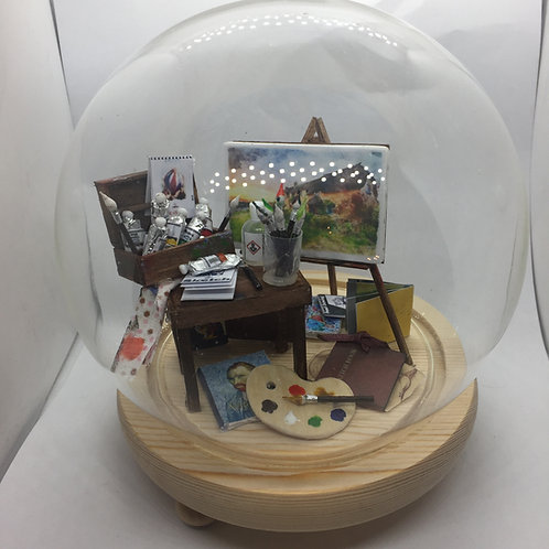 Artists Diorama under a Glass Dome