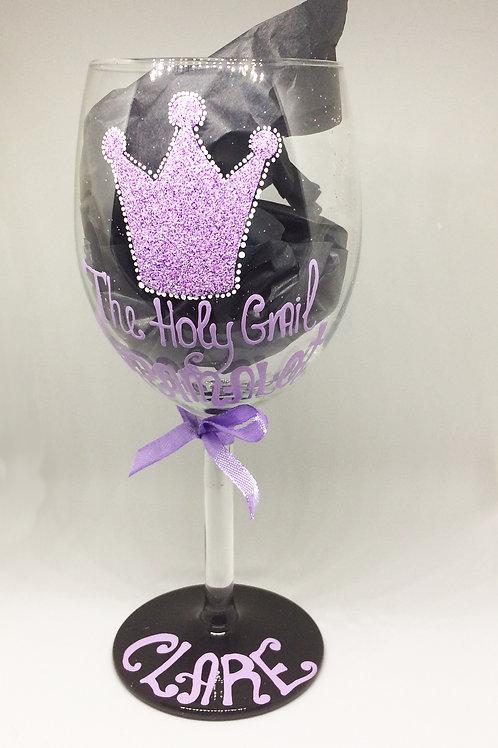 Spamalot Holy Grail HandPainted Wine Glass