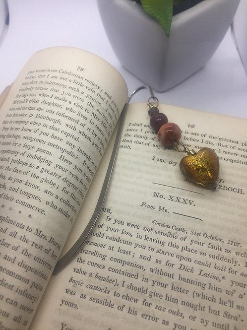 Gold merano glass heart bookmark