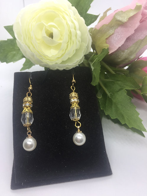 Gold clear crystals  and single pearl drop earrings