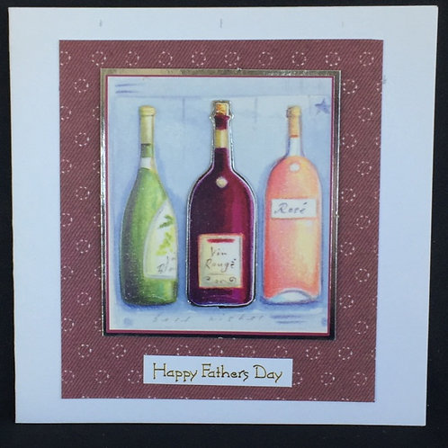 Three wine bottles Happy Fathers Day card