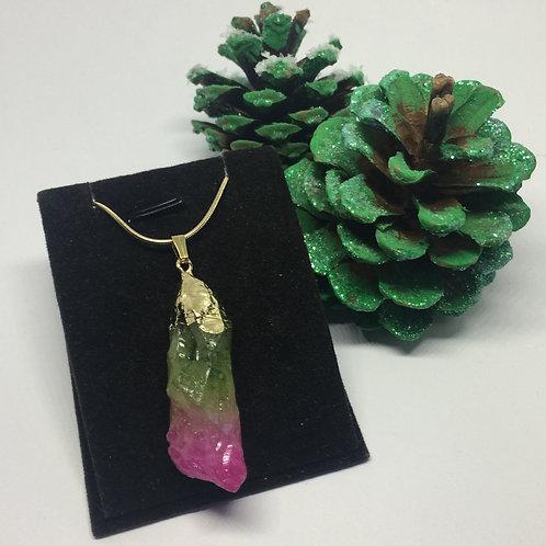 Titanium Green and pink agate druzy quartz pendant