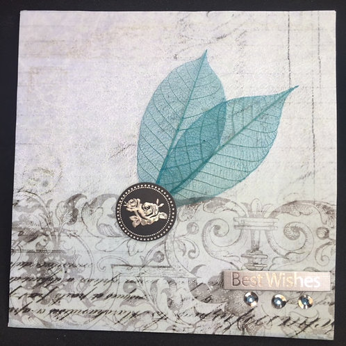 Turquoise skeleton leaves 'Best Wishes' square card