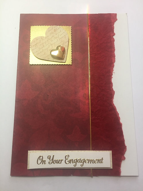 Dark red and gold hearts Engagement large blank card