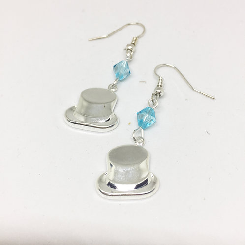 Sweet Charity Top Hat Blue Crystal Drop Earrings
