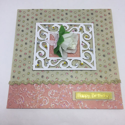 Happy Birthday Square white rose card