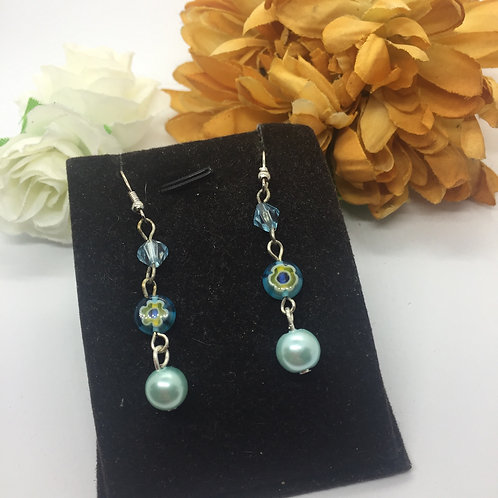 pale blue bead and pearl earrings