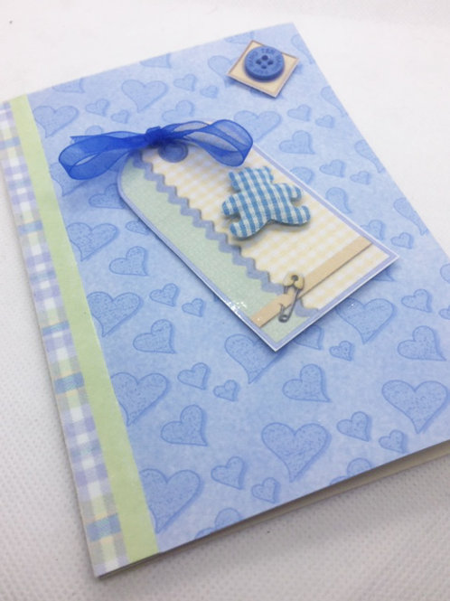 Blue New Baby card with gingham teddy