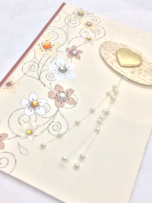 Cream floral and Gold Heart blank card