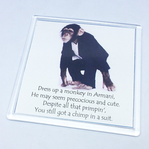 Dirty Rotten Scoundrels Chimp in a suit coaster