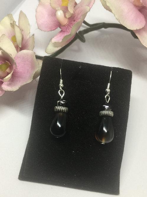 Dark Teardrop semi precious earrings