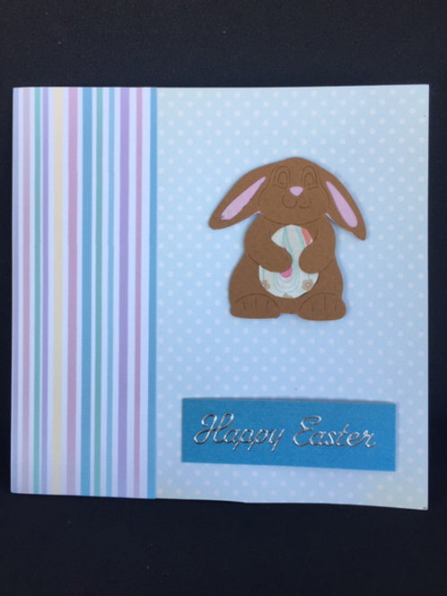 Blue Stripe Happy Easter Square Card