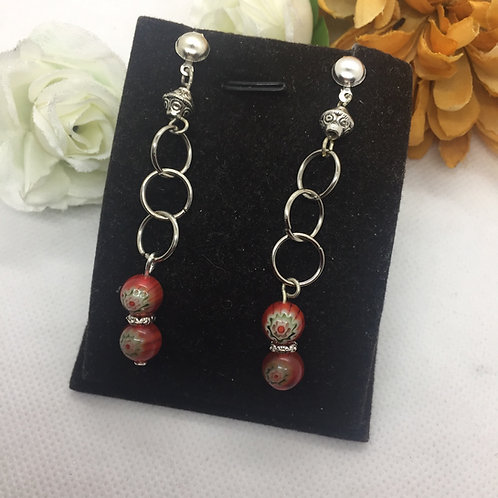Red semi precious triple ring drop earrings