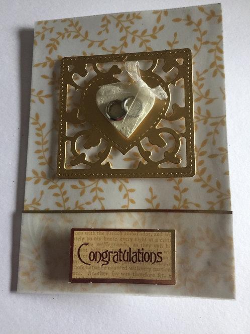 Gold heart Congratulations engagment card