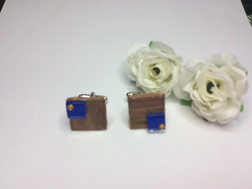 Square bronze and blue Cufflinks