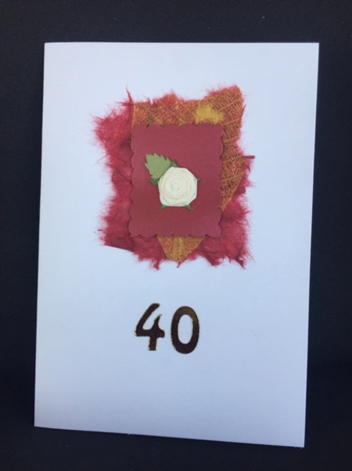 40th Birthday or Anniversary burgundy mount with white rose card