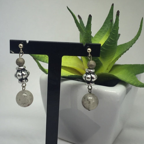 Grey Agate Drop Earrings