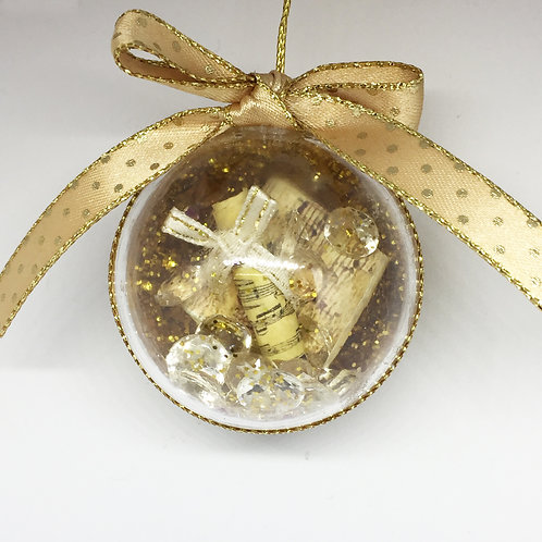 Christmas Handcrafted Music and Crystals Tree Decoration