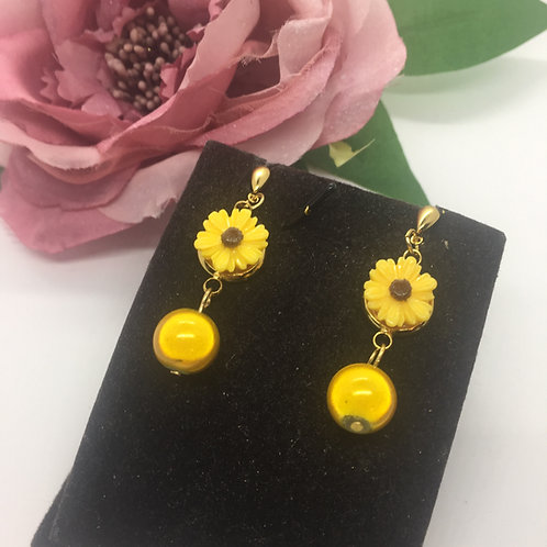 Sunflower and yellow bead drop earrings