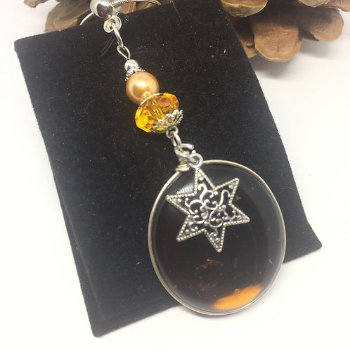 Amber Brown and filigree star Oval pendant and chain