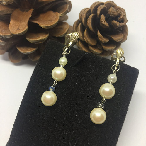 Three Pearl clip on earrings
