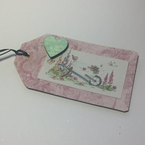 Pink and Green Heart pretty wheelbarrow Gift tag