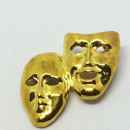 Gold Theatre Masks Brooch