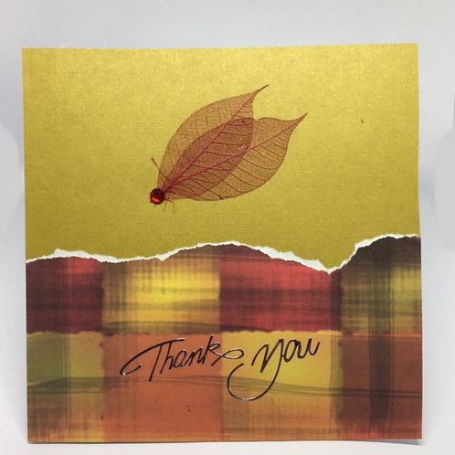 Yellow and rust Square Thank You card