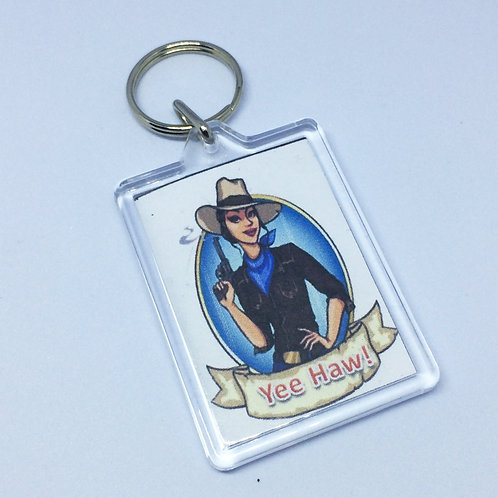 Cowgirl Double Sided Keyring