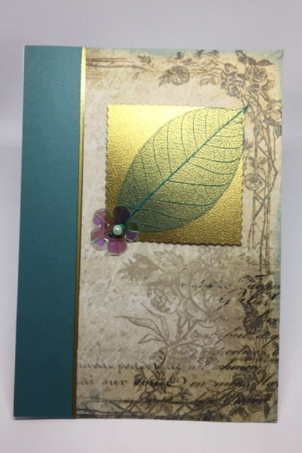 Gold and skeleton leaf rectangular blank card