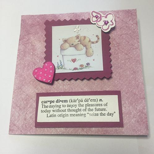 Pink Sleeping Cat Carpe Diem Square card