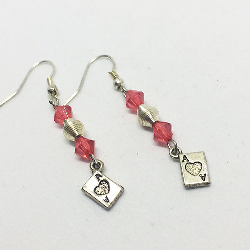 Ace of Hearts Playing card drop earrings