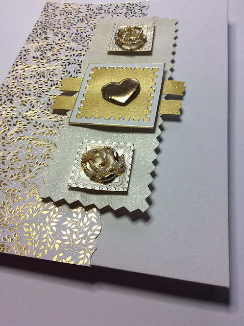 White and Gold heart with beads large card