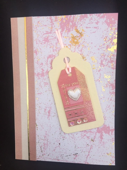 Pink, Cream and Gold tag Especially for You card