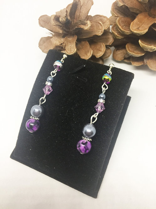 Shades of Grey and Purple drop earrings