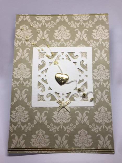 Gold heart and paisley large blank card