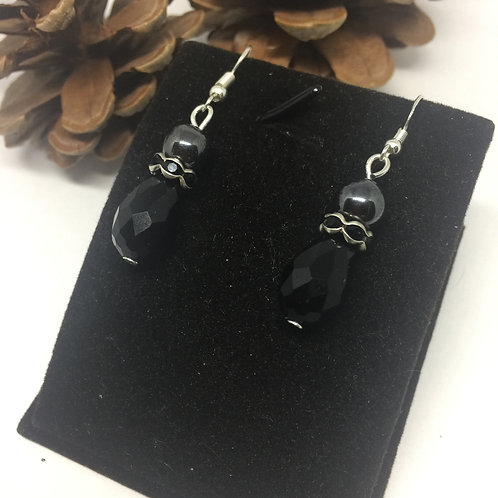 Black Jet drop earrings