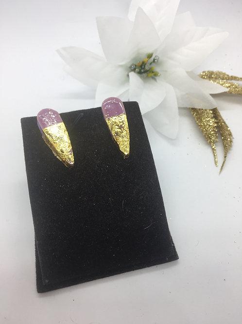 Lilac ceramic Gold leaf dipped teardrop Stud Earrings