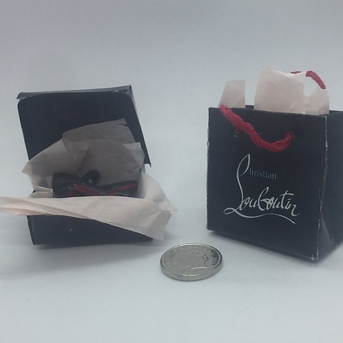 Miniature Louboutin shoes in shoe box and gift bag