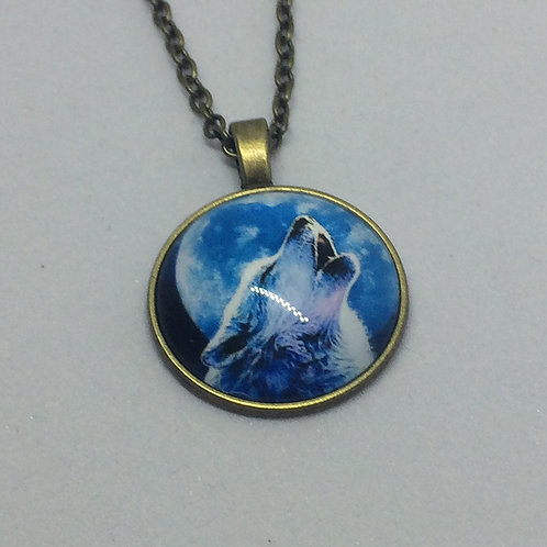 Into the Woods Howling Wolf Round Pendant